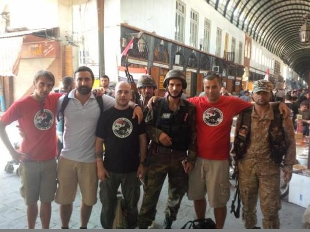 Italian delegation of the European Solidarity Front with Syrian Army soldiers in Damascus. From ESF website