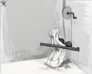 An imaginary picture of torturing by the bicycle cogwheel, a current common form of torture. From Violations Documentation Center in Syria