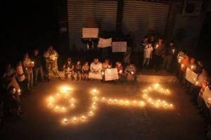 Vigil in solidarity with Gaza, in Aleppo, Syria. Photo via: Syria Untold